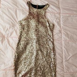 Gold Sequin Racerback Dress